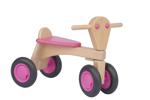 Afbeeldingen van Loopfiets beukenhout roze Van Dijk Toys Vierwieler kinderfiets
