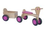 Afbeeldingen van Aanhanger voor roze kinder-loopfiets beukenhout Van Dijk Toys