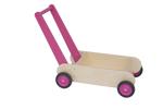 Afbeeldingen van Leren loopwagen- roze Blokkenduwwagen hout 40x 30 cm Van Dijk Toys