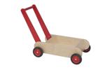 Afbeeldingen van Leren loopwagen- rood Blokkenduwwagen Hout Van Dijk Toys