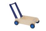 Afbeeldingen van Leren loopwagen- blauw Blokkenduwwagen Hout Van Dijk Toys