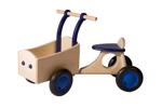 Afbeeldingen van Blauwe houten bakfiets vierwieler-kinderloopfiets -Van Dijk Toys