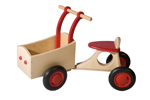 Afbeeldingen van Rode houten bakfiets vierwieler-kinderloopfiets-Van Dijk Toys