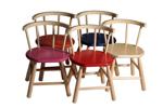 Afbeeldingen van Kinderstoel,  roze zitvlak, gebogen leuning,  beukenhout Van Dijk Toys