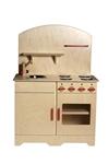 Afbeeldingen van Speel- kinderkeukenblok kleuter blank hout rode knoppen 80x 40 x 110 cm Van Dijk Toys