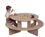 Afbeeldingen van Groepstafel-wachtkamertafel hout met bank rond en blokkenopbergbak Ø 130 cm Van Dijk Toys