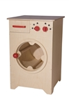 Afbeeldingen van Speel- kinderkeuken-Kleuter Wasmachine blank hout 40x 40x 61 cm Van Dijk Toys