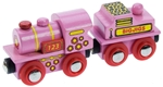 Bild von Roze locomotief met kolentender houten treinbaan Bigjigs