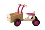 Afbeeldingen van Roze houten bakfiets vierwieler -kinderloopfiets  -Van Dijk Toys