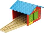 Afbeeldingen van Treinremise hout voor 2 treinen Bigjigs