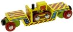 Afbeeldingen van Wagon, dieplader met bulldozer houten treinbaan Bigjigs
