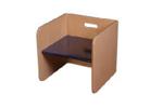 Image de Blauw-blanke kubusstoel-kinderstoel met gekleurde zitting  thuisgebruik 1-8 jaar Van Dijk Toys
