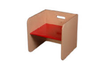 Image de Rode kubusstoel-kinderstoel met gekleurde zitting,  thuisgebruik 1-8 jaar Van Dijk Toys