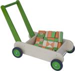 Afbeeldingen van Leren loopwagen- groen Blokkenduwwagen hout 40x 30 cm Van Dijk Toys