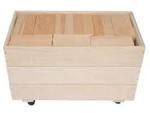 Afbeeldingen van 80 Haagse Blokken 10 cm. Haagse blokken set 80 grote blanke houten bouwblokken in 3 stapelkisten Van Dijk Toys