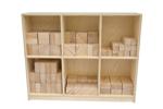Afbeeldingen van 156 Haagse blokken 10 cm . Haagse blokken set 156 grote blank beukenhouten bouwblokken  Van Dijk Toys