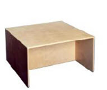 Image de Kubustafel-kindertafel kleuters hout blank-tevens desk en zitbank 1-8 jaar 75 x75 x 40 van Dijk Toys