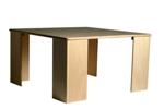 Afbeeldingen van Kubustafel-kindertafel kleuter hout blank met 4 poten Van Dijk Toys