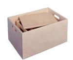 Afbeeldingen van Middelgrote houten speelgoed opberg sjouwkist- (50x35x24,5 cm) Van Dijk Toys