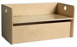 Afbeeldingen van Peuter kubusopbergbank-kinderbank  hout met blanke klep-zitting en opbergvak groepsgebruik 1-6 jaar Van Dijk Toys