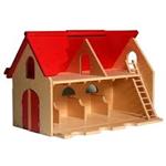 Afbeeldingen van Speelboerderij hout met rood scharnierend dak en ladder 3+ 75x 30x 45 cm Van Dijk Toys