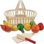 Afbeeldingen van Fruit snijset in houten mandje New Classic Toys