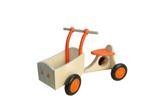 Afbeeldingen van Oranje houten bakfiets vierwieler-kinderloopfiets -van Dijk Toys