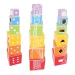 Afbeeldingen van Stapelblokken en vormenstoof in één - Bigjigs