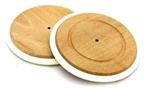 Afbeeldingen van Houten wiel met witte rubber bandje 13,5 cm