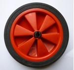 Afbeeldingen van Wiel rood kunstof met rubber band diameter 14 cm