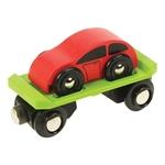 Afbeeldingen van Wagon met autootje houten treinbaan Bigjigs