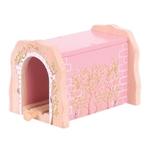 Bild von Spoortunnel roze steen houten treinbaan Bigjigs