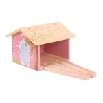 Afbeeldingen van Treinremise roze houten treinbaan Bigjigs