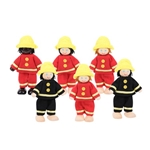 Afbeeldingen van Brandweermannen poppenhuispoppetjes set van 6 - Bigjigs