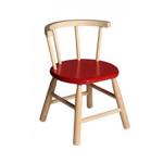 Afbeeldingen van Kinderstoel,  oranje zitvlak, gebogen leuning,  beukenhout Van Dijk Toys