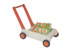 Afbeeldingen van Leren loopwagen- oranje Blokkenduwwagen hout 40x 30 cm VanDijk Toys