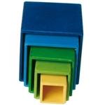 Afbeeldingen van Stapelkubus-blokken blauw-groen 11 cm Grimm's