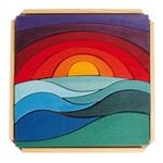 Bild von Puzzel bouwblokken Landschap Zon en Aarde 28 cm 14-delig Grimm's