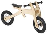 Bild von Trybike houten 2 en 3-wieler loopfiets 2-in-1, bruin zadelhoesje en kinbeschermer