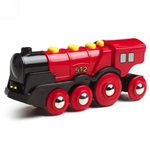 Afbeeldingen van Brio Locomotief 8 wiels rood  op batterijen