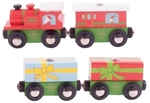 Image de Kersttrein 3 wagons houten treinbaan Bigjigs