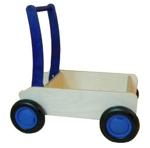 Picture of Luxe loopwagen- blauwe Blokkenduwwagen Hout rechte rand  Van Dijk Toys