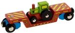 Image de Wagon, dieplader met tractor houten treinbaan Bigjigs