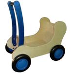Afbeeldingen van Blauwe Combi Poppenwagen - Loopwagen-Blokkenduwwagen Van Dijk Toys