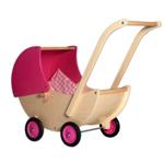 Afbeeldingen van Poppenwagen naturel- en roze beweegbare kap Hout Van Dijk Toys