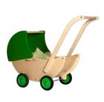Afbeeldingen van Poppenwagen naturel- en groene beweegbare kap Hout Van Dijk Toys