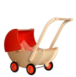 Afbeeldingen van Poppenwagen naturel- en oranje beweegbare kap Hout Van Dijk Toys
