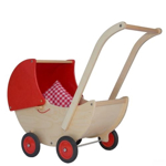 Afbeeldingen van Poppenwagen naturel- en rode beweegbare kap Hout Van Dijk Toys