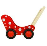 Afbeeldingen van Moderne poppenwagen rood met witte stippen Hout Van Dijk Toys