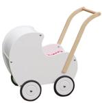 Afbeeldingen van Poppenwagen vintage wit hout Van Dijk Toys